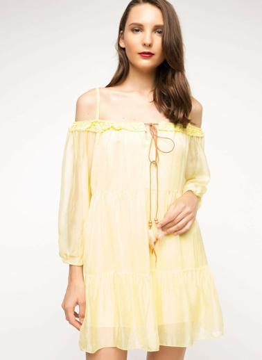 DeFacto Askılı Elbise Sarı